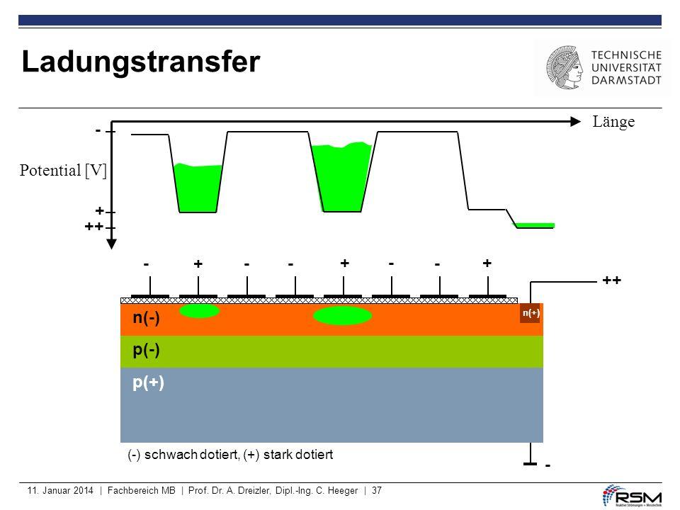 Ladungstransfer Länge - Potential [V] + ++ - + - - + - - + ++ n(-)
